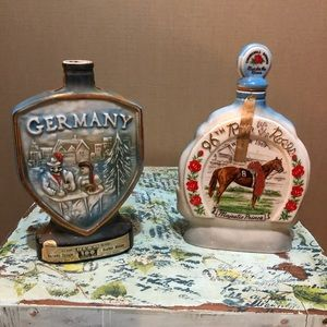(2) Vintage Jim Beam decorative whiskey bottles